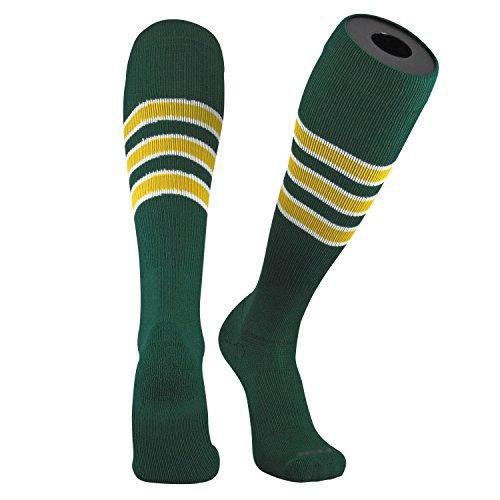 TCK Pro Elite Oakland Dark Green, White, Gold Knee-High Long Striped Socks (Large)