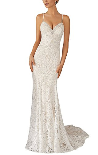 Gemila Women's Spaghetti Sraps Summer Lace Beach Wedding Dress Bridal Gown White US8
