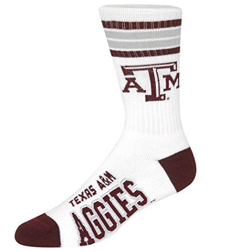 A&m Gifts (For Bare Feet NCAA 4 Stripe White Deuce Crew Men Socks-Texas A&M Aggies-Large(10-13))
