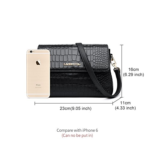 Crossbody for bag bags Valentine's Leather LAORENTOU Woman Gift Shoulder Women Cowhide Black1 Purse Bag Messenger x0pUqw1