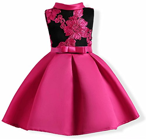 AYOMIS Flower Girl Pageant Dress Kids Party Embroidery Wedding Dresses 2-9 Years(Hot Pink,7-8Y) -