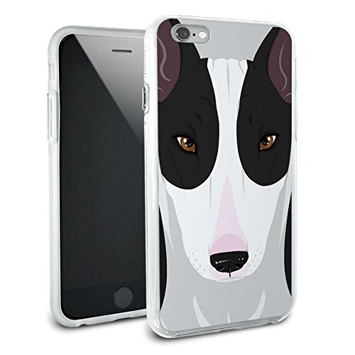 Bull Terrier – Dog Pet Hybrid Rubber Schutz Hülle Slim Case Cover Etui Bumper für Apple iPhone 6 Plus, Schwarz/Weiß