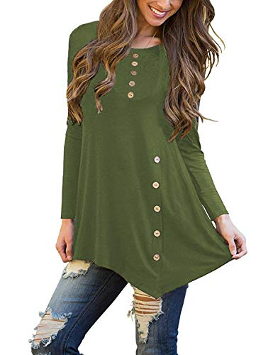 90dc279e1da Sweetnight Womens Long Sleeve Side Button Tunic Tops Asymmetrical Loose Fit  Blouse Fall Tops