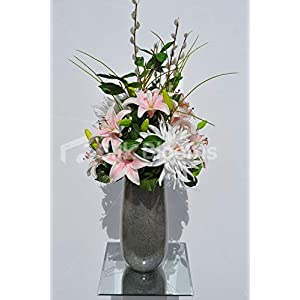 Silk Blooms Ltd Artificial Pale Pink Chrysanthemum and Oriental Lily Floral Arrangement w/Pussywillow and Foliage 38