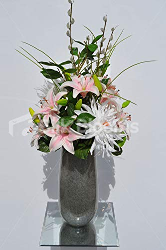 Silk-Blooms-Ltd-Artificial-Pale-Pink-Chrysanthemum-and-Oriental-Lily-Floral-Arrangement-wPussywillow-and-Foliage