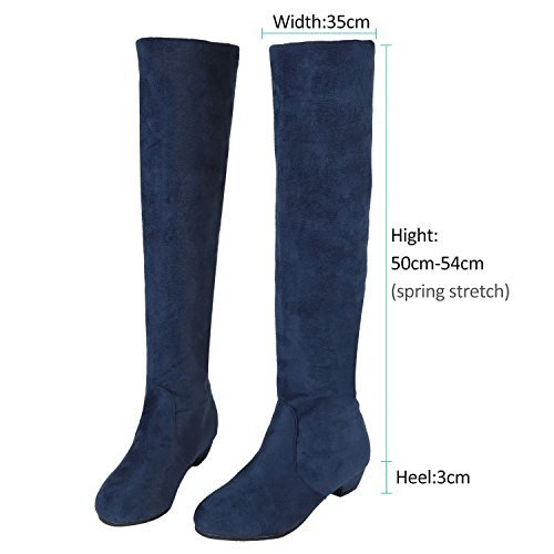 blue Spring Shearling 25CM Nubuck High Low Boots US9 Moto Dress Winter Flat Shoes Heel Knee EU40 Women's aZxvfv