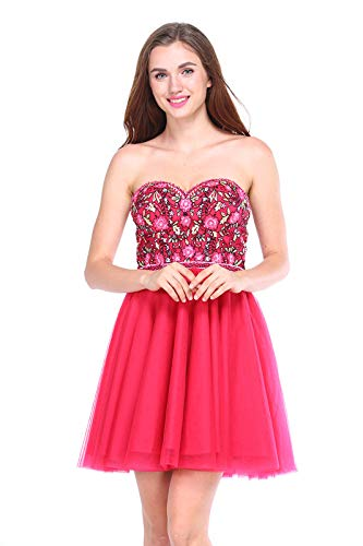 (Chic Queen Applique And Beading Short Homecoming Prom Dress)