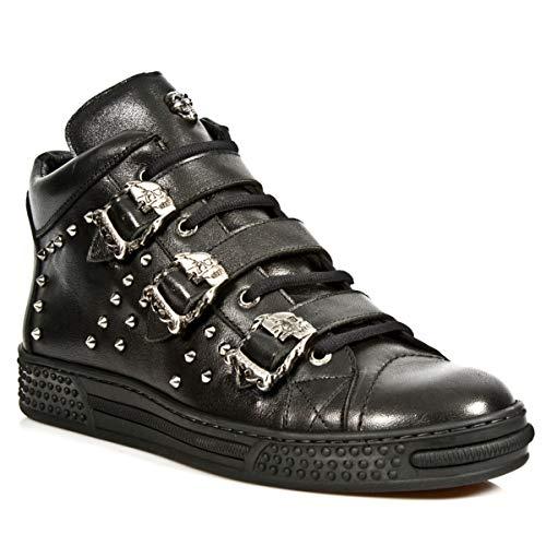 Tacón Sneaker ps007 Deporte Cuero s1 Negro Zapatos Heavy M Plano Botines Unisex Gotico Rock Zapatilla New Punk Mujer Piel Hombre De npq8FaW