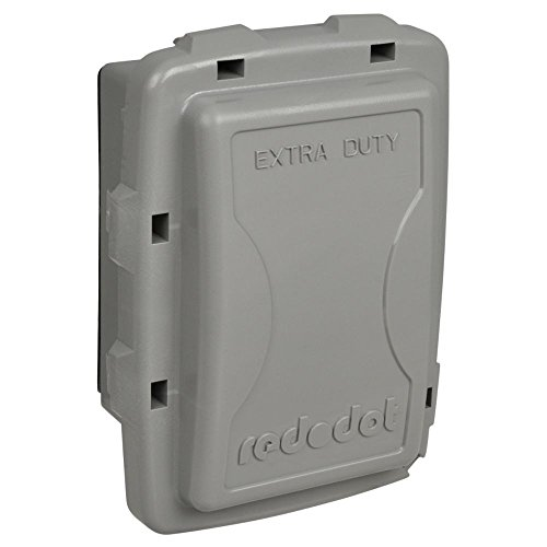 Red Dot 1-Gang Extra Duty Non-Metallic While-In-Use Weatherproof Horizontal/Vertical Receptacle Cover with Wasp Guard - Grey 2 -