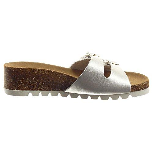 Sopily - damen Mode Schuhe Sandalen Offen Schleife metallisch - Silber