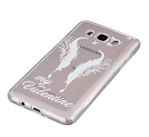 Funda Samsung Galaxy J5 2016 SM-J510F, AllDo Funda TPU Silicona para Samsung Galaxy J5 2016 SM-J510F Funda Transparente Claro Carcasa Flexible Suave TPU Silicone Case Soft Cover Carcasa Protectora Fun Pájaros&Plumas