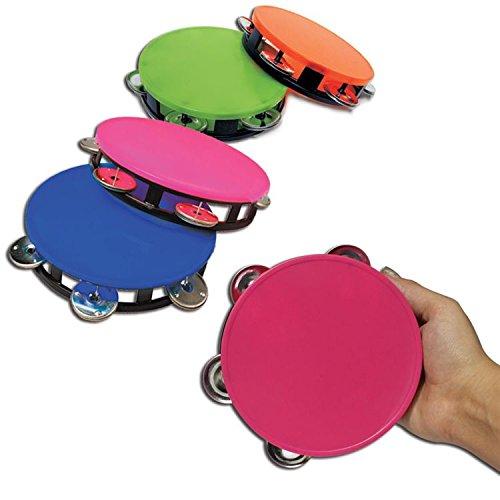 Neon Party Tambourines-5 1/2