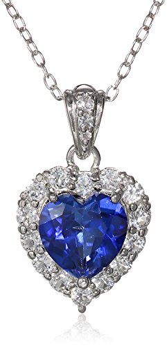 Platinum Plated Sterling Silver Created Blue Sapphire and White Topaz Halo Heart Pendant Necklace, 18