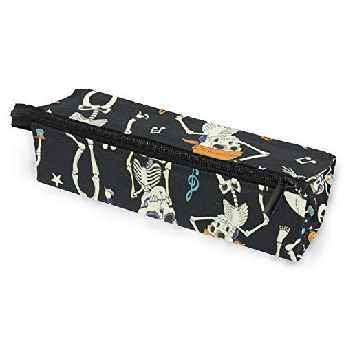 Glasses Case Vintage Happy Halloween Skull Skeleton Multi-Function Zippered Pencil Box Makeup Cosmetic Bag for Women