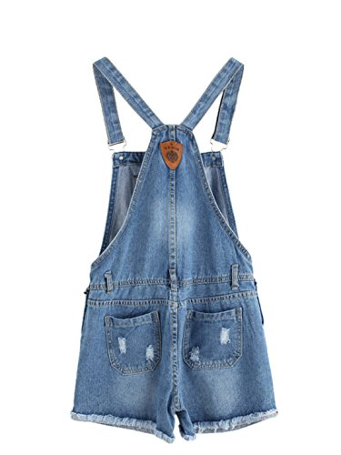 MAKEMECHIC Women's Ripped Distressed Denim Overall Shorts Romper 1-Blue XL