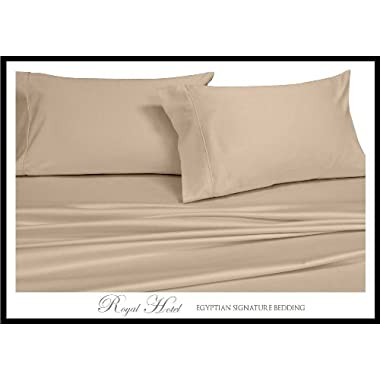 Royal Hotel's Solid Tan 600-Thread-Count 4pc King Bed Sheet Set 100-Percent Egyptian Cotton, Sateen Solid, Deep Pocket