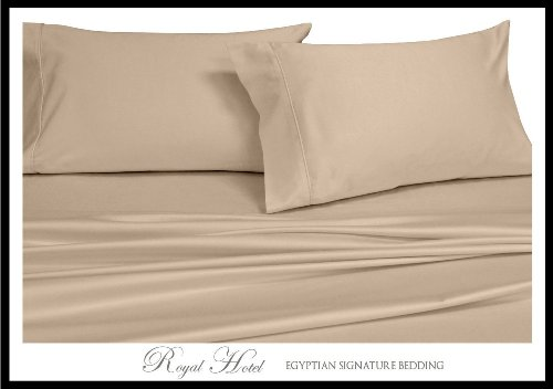Royal Hotel's Solid Tan 300-Thread-Count 3pc King / Cal-King Duvet-Cover 100-Percent Cotton, Sateen Solid, 100% Cotton