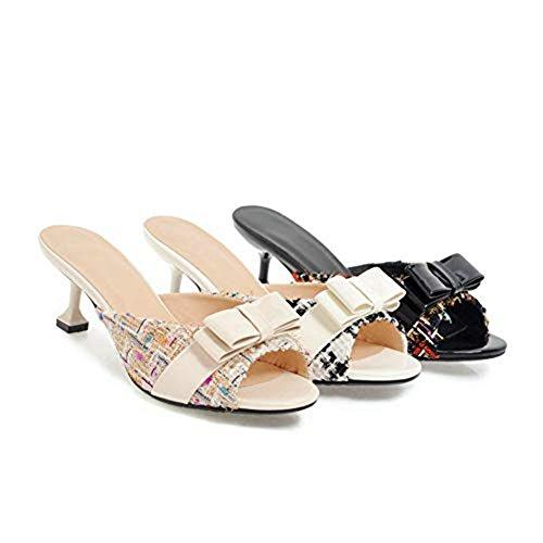 Toe Out Summer Slide Peep Dress JULY Cat on Sweet Hollow Pumps Black Heeled T Sandals Shoes Bowknot Slip Women's Mules q8aXTw0