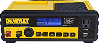 DEWALT DXAEC80 30 Amp Bench Battery Charger: 80 Amp Engine Start, 2 Amp Maintainer, 120V AC Outlet, 3.1A USB Port, Battery Clamps