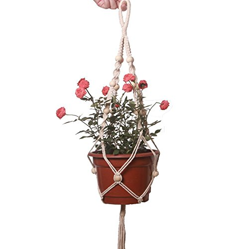 Macrame White Plant Hanger Indoor Outdoor Hanging Planter Basket Cotton Rope with Beads DIY Applicable Best Gift for Wedding House Patio Decor HSZ--11