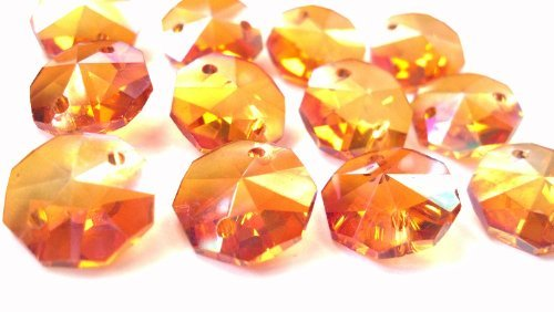 Chandelier Crystals 14mm Iridescent Peach Octagon Prism Beads Pack of 12 Pumpkin - 14mm Crystal Ab Beads