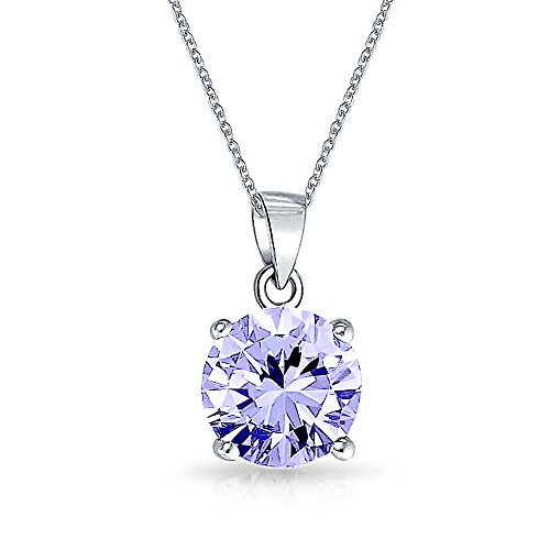 2CT Round Lavender AAA CZ Brilliant Solitaire Pendant Necklace For Women Teen Alexandrite Simulated 925 Sterling Silver