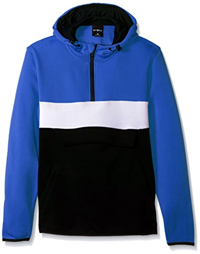 WT02 Men's Long Sleeeve Color Blocked Fleece Anorak Jacket, Royal, (Fleece Lined Anorak)