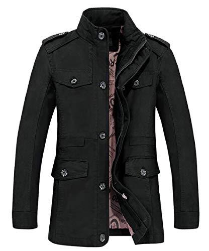 security Men's Cotton Stand Collar Full Zip Jacket Big Tall Jacket Windbreaker Black