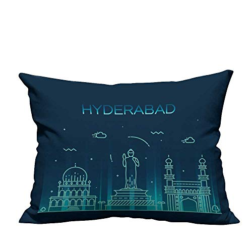 YouXianHome Decorative Throw Pillow Case Hyderabad Skyline,Detailed Silhouette Trendy Vector,Linear Style. Ideal Decoration(Double-Sided Printing) 13.5x19 inch