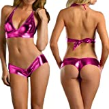 Amour- Sexy Lingerie Halter Top & Boy Shorts Clubwear CMJ328 PM One Size Metallic Hot Pink (Hot Pink)