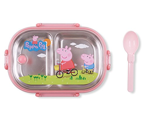 Finex Peppa Pig George Pig Pink Bento Lunch Box Set with Clear Lid & Spoon