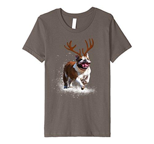 Kids Reindeer Bulldog Running Through the Snow Christmas tShirt 8 - Snow Running Through