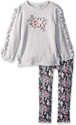 Calvin Klein Girls' Little 2 Pieces Tunic Legging Set, Gray/Print, 6