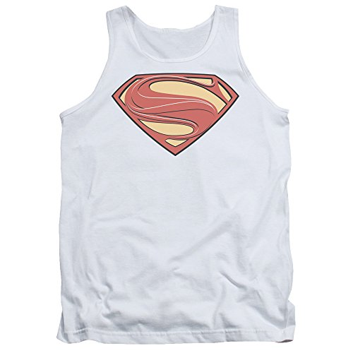 Superman+tank+tops Products : Man Of Steel Superman Movie New Solid Shield White Adult Tank Top Shirt