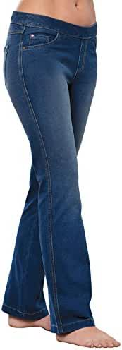 PajamaJeans - Petite Bootcut Stretch Knit Denim Jeans for Women