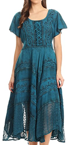 Floral Corset Embroidered (Sakkas 15323 - Mila Long Corset Embroidered Cap Sleeve Dress with Adjustable Waist - Turquoise - S/M)