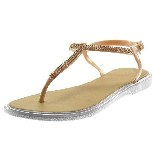 Angkorly Damen Schuhe Sandalen Flip-Flops - T-Spange - Strass - Patent - String Tanga Blockabsatz 2 cm Rosa