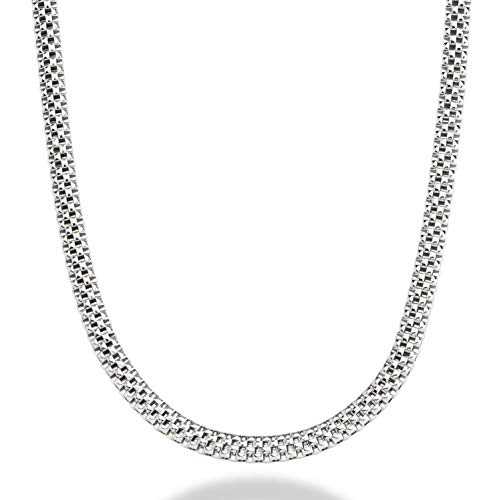 MiaBella 925 Sterling Silver Italian 4mm Mesh Popcorn Link Chain Necklace for Women 16