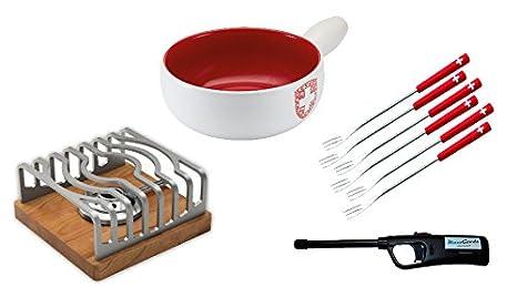 Para fondue de queso Set 9 tlg. - cacerola Svizzera, hornillo de diseño moderno y 6 tenedores de la cruz suiza: Amazon.es: Hogar