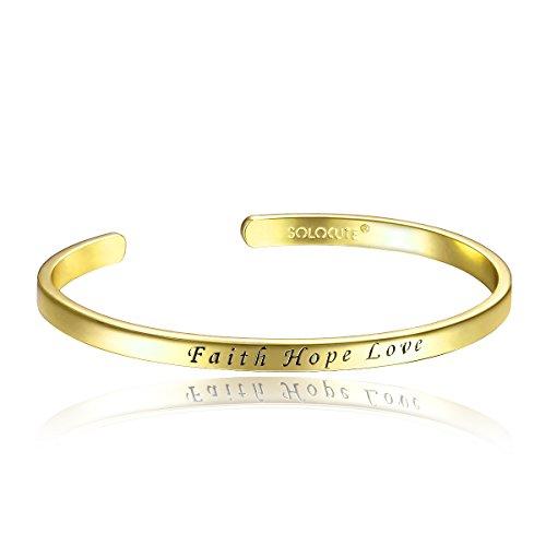 "Solocute Gold Plated ""Faith Hope Love"" Cuff Bracelets"