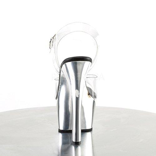 Sandalen 608 Slv Clear Pleaser Aspire Chrome Offene Damen 7InwnqxCa