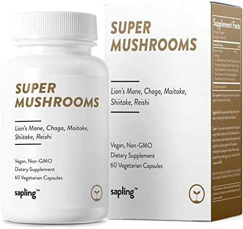 Immune Support Super Mushrooms – Immune Booster Superfood and Nootropic Supplement – Non-GMO with 4 1 Extract Lion s Mane, Chaga, Maitake, Shiitake, Reishi. 60 Vegan Capsules