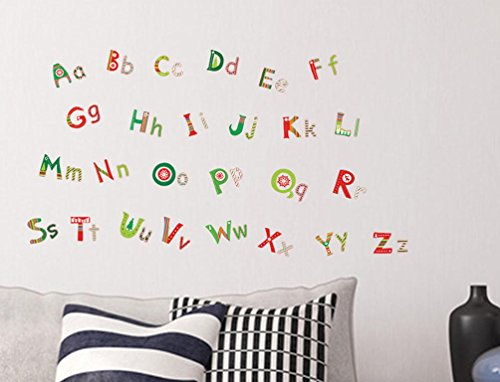 BIBITIME Case Sensitive ABC abc 26 Alphabet Wall Decals Christmas Home Decor English Character Vinyl Decal for Nursery Kids Room Decor Education Letter Sticker ()