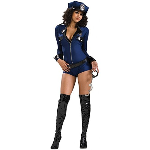 [Secret Wishes Sexy Miss Demeanor Costume, Navy Blue, Medium] (Sexy Halloween Dress Up)