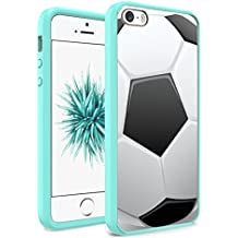 iPhone SE Case, iPhone 5s / iPhone 5 Case, Capsule-Case Hybrid Slim Hard Back Shield Case with Fused TPU Edge Bumper (Teal Green) for iPhone SE / iPhone 5s / iPhone 5 - (Soccer Ball)