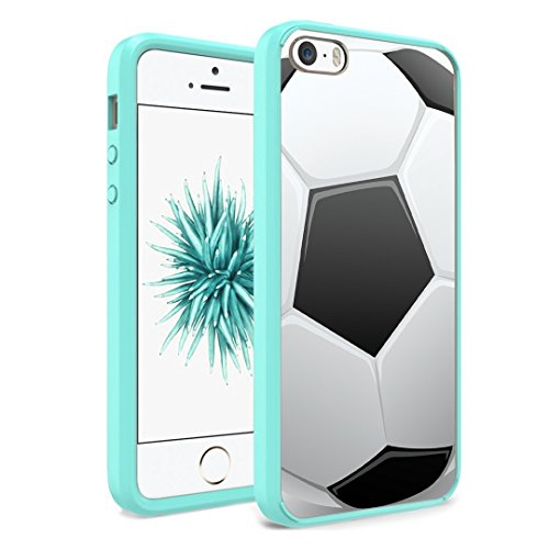 iPhone SE Case, iPhone 5s / iPhone 5 Case, Capsule-Case Hybrid Slim Hard Back Shield Case with Fused TPU Edge Bumper (Teal Green) for iPhone SE/iPhone 5s / iPhone 5 - (Soccer Ball)