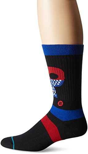 Stance Men's Freedom Heads Graphic Striped Arch Support Classic Crew Sock, Black, - Head Stripe Socks