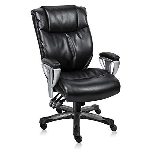 ive Office Chair Ergonomic Office Chair with Adjustable Backrest and Armrests Multifunction Heavy Duty 300lbs Office Chair with Tilt Lock Function(Black) ()