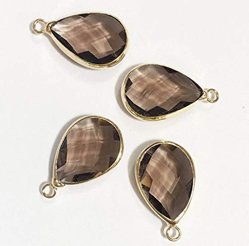 (4 Glass Faceted Teardrop Pendant with Gold Frame, White Smoky Glass Drops 22x14mm, Framed Glass)
