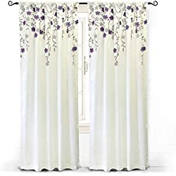 "DriftAway Isabella Faux Silk Embroidered Window Curtain, Embroidered Crafted Flower, Lined with Thermal Fabric, Single Panel, One Panel, 50""x84"" (Ivory/Purple)"